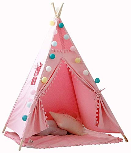 Toy Tent Play House Children's Tent Canvas Cotton, lace Ball Design, Foldable Game Tent House Indoor Games, Outdoor Games use,Pink