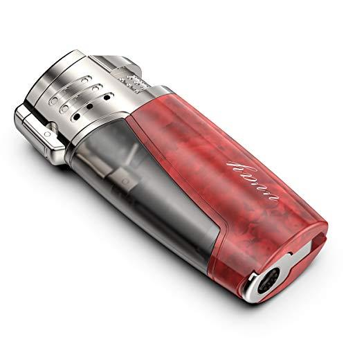 VVAY Mechero Turbo 3 Llamas Gas Butano Recargable, Jet Flame Encendedor para Puros (Vendido sin Gas)