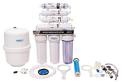 AQUATIP - Sistema de ósmosis inversa de 7 etapas de agua potable. Volumen del depósito de 12 litros. Hasta 280 litros de flujo al día (dimensiones: 40 x 14 x 50 cm).