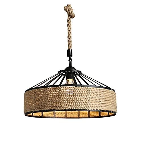 ZIS 30cm Americano Retro Base de Hierro cáñamo Cuerda Chandelier Bar Cafe Restaurante Redondo Lámpara de araña Lámpara de lámpara de lámpara
