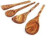 Balna Küchenset aus Olivenholz 4tlg, 3 Kochlöffel Holz und 1 Pfannenwender mit Löcher