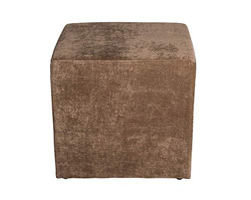 Amaris Elements | Sofa Hocker 'Joe' eckig Würfel Samt 45x45xH45cm braun Pouf Polsterhocker