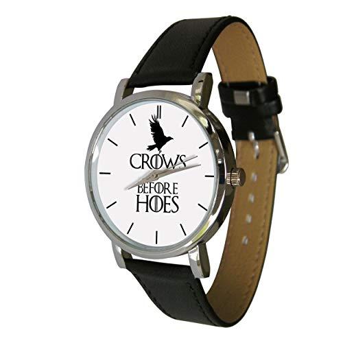 Your Watch Design. Unisex-Erwachsenengröße. Analog, Quarzuhrwerk, Lederband. Krähen vor Hacken