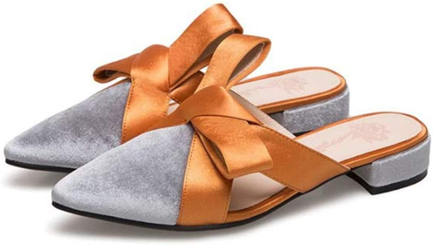 Brilliant sun Women Velvet Bowtie Mules for Woman Fashion Pointed Toe Flat Casual Mules