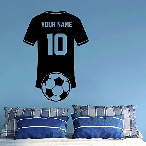 BBZZL Camiseta de Jugador de fútbol Personalizada con Nombre y número, Regalo de cumpleaños para niño, calcomanía de Vinilo Decorativa para Pared Deportiva M 41x57cm
