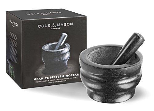 Cole and Mason Granite Pestle and Mortar, Black, 18 cm