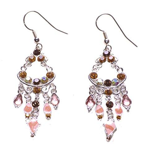 Royal–amarillo y diamantes, color rosa esmalte y Gem lámpara de araña de...