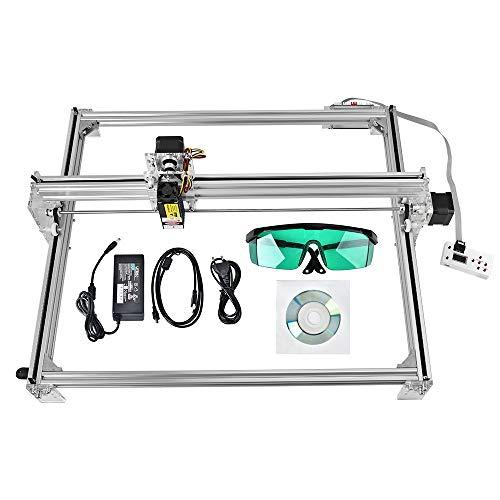 ETE ETMATE DIY CNC Machine, 2 Axis Carving Machine DIY Kit, DIY CNC Laser Engraver Kits 12V USB Desktop Laser Grabadora con gafas protectoras Área de trabajo 65 * 50cm 15000MW