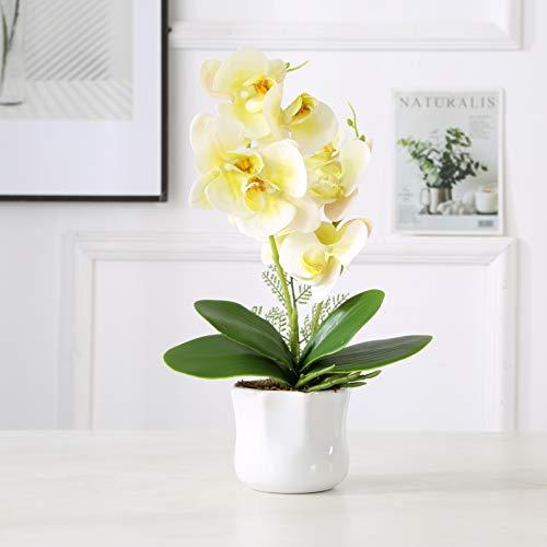 ENCOFT Flores Artificiales Plástico Flor de Phalaenopsis Realista Orquídea Mariposa con Maceta Imitación Cerámica Decoración (Amarillo, 43cm)