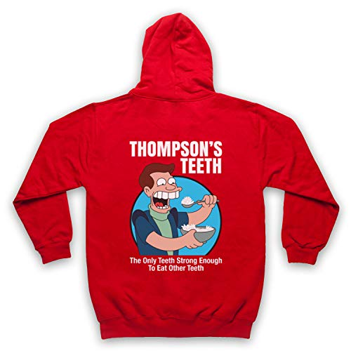 The Guns Of Brixton Futurama Thompson's Teeth Sweat a Capuche avec Un Fermeture Eclair des Adultes, Rouge, Large