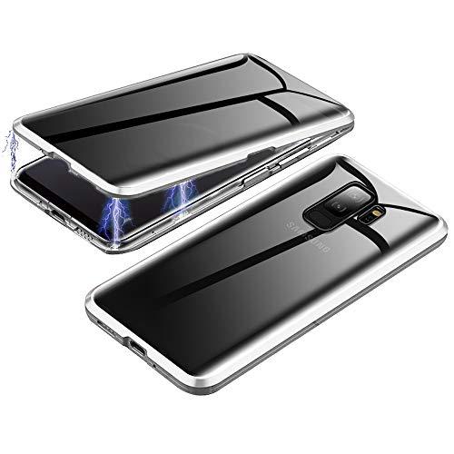 Jonwelsy Anti-Spy Funda para Samsung Galaxy S9 Plus, 360 Grados Proteccion Case, Privacidad Vidrio Templado Anti espía Cover, Adsorción Magnética Metal Bumper Cubierta para Galaxy S9+ (Plata)