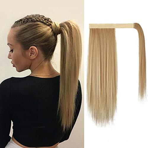 BARSDAR Clip en Extensiones de cabello de cola de caballo, 14 Pulgadas Extensión cola de caballo recta corta Envolvente esponjosa natural cola de caballo postizos fibra sintética para mujeres niñas