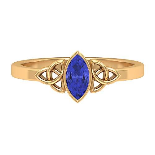 1/2 CT Tansanit Solitärring, einfacher Ring für Frauen, goldener keltischer Knoten-Ring (7 x 3,5 mm Marquie geformter Tansanit), 14K Gelbes Gold, Size:EU 47