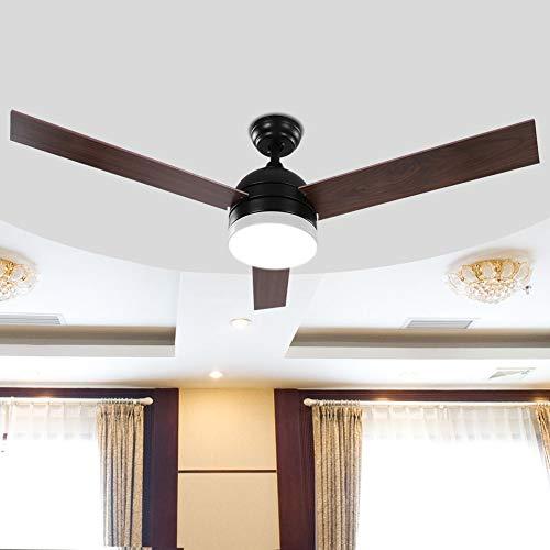 Ventilador de Techo de 52 '' Aspas con Luz con Control Remoto de Luces Velocidades de Rotación 65W(Negro)