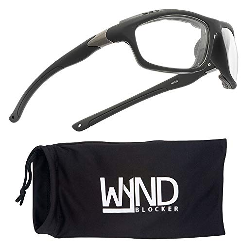 WYND Blocker Airdam Sunglasses Motorcycle Riding, Driving, Fishing, Boating Wrap (Black Matte, Clear)
