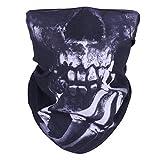 WOVTE 2 Pack Skull Headwear Seamless Motorcycle Bandanas Black…