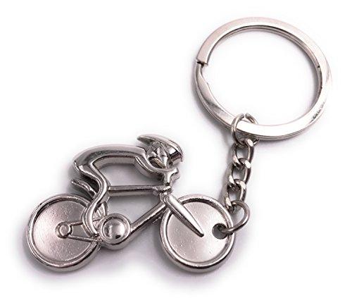 H-Customs Fahrrad Rennrad Fahrer mit Helm Silber Schlüsselanhänger