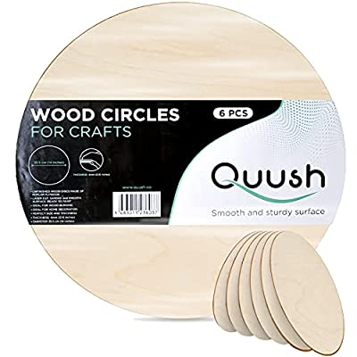 Quush Wood Circles for Crafts – 6 Pack – 14 Inch – Unfinished Wood Rounds, Wood Crafts, Wooden Circles, Door Hanger, Wood Burning