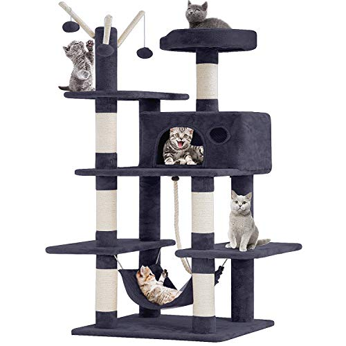 BestPet Cat Tree Tower Condo Playground Cage Kitten Multi-Level 56 inches Activity Center Play House Medium Scratching Post Furniture Plush Perches with Hammock (Grey)