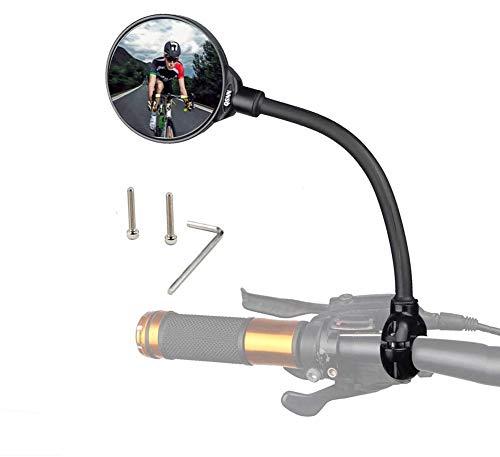 Qsnn Fahrradspiegel für Lenker 22-32mm, 360° Flexibel Konvex MBT Fahrrad Rückspiegel 3D Weitwinkel Rund Ebike Spiegel, Links&Richtig Universal Fahrrad Spiegel für Mountainbike/Mofa/Rennräder - 1Stück