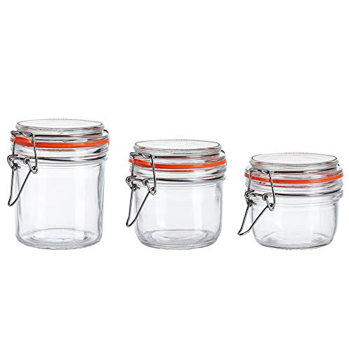 Glass Jars With Airtight Lids and Leak Proof Rubber Gasket,Storage Jars With Hinged Lid for Home and Kitchen Set of 3