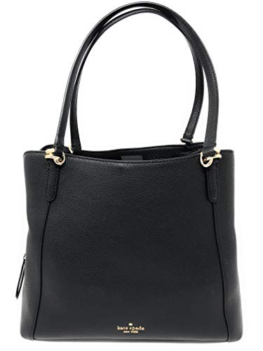 "Kate Spade New York Black Soft Pebbled Leather Shoulder Bag With Gold Toned Hardware Magnetic Closure, Triple Compartment Shoulder Bag, Handle Drop 10"" Interior Features Custom Kate Spade Fabric Lining, 1 Zip Pocket, and two Slip Pocket Approx. dimen..."