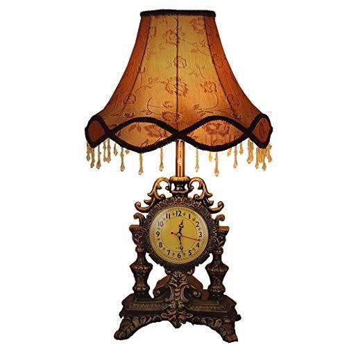 Lfixhssf Retro Nostalgie Engeland Pastoral Hars Palazzo Deco tafellamp met klok bedlampje romantische dimbare lampenkap E27 LED schrijflicht