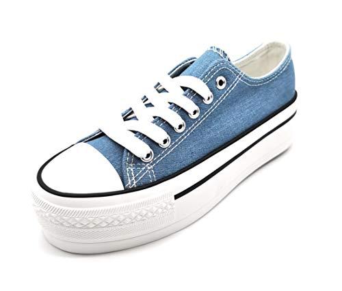 Zapatillas para Mujer con Plataforma de Lona Doble Suela Triple Basket Bambas Puntera de Goma Azul Vaquero 40