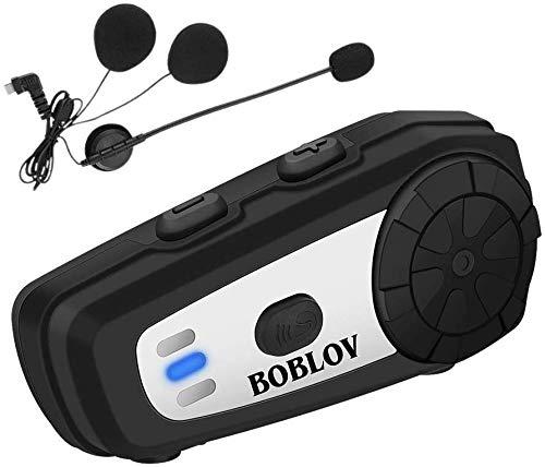 Boblov M6 Motocicleta Casco Intercom Auriculares Bluetooth 5.0 con Tecnología de Cancelación de Ruido y…