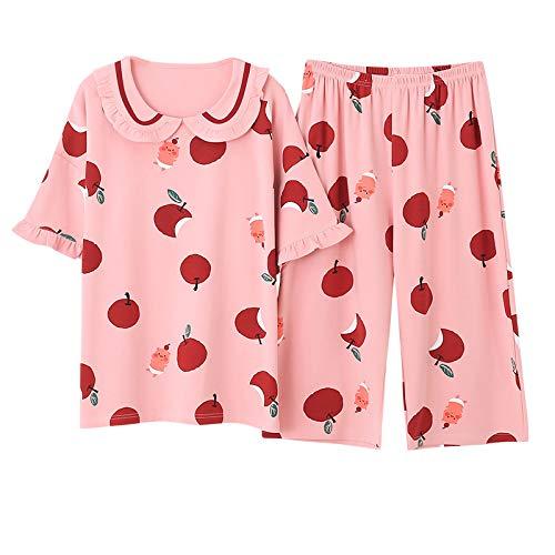 ZJMIYJ Pijamas De Mujer,Verano Algodón Dibujos Animados Mujeres Rosa Apple Pijamas Set Redondo Cuello Casual Más Tamaño Femenino Cálido Y Acogedor Pijamas Corto Top + Pantalones Cortos, XL