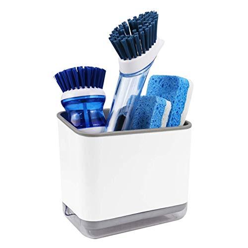 Sink Counter Caddy Dish Sponge Holder Kitchen Sink Sponge and Brush Holder Plastic Dish Scrubber Organizer with Drain Tray White