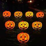 KingSom Halloween Pumpkin Light, Orange Pumpkin Decor Night Lamp,Flashing Color Changing, Battery Powered, IP67 Waterproof Pumpkin Floating Lights for Outdoor/Indoor,Pool, Garden,Bathtub, Party(8PCS)