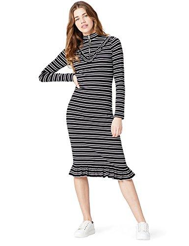 Amazon-Marke: find. Damen Kleid Gestreift mit Tunnelkragen, Schwarz (Black), 42, Label: XL