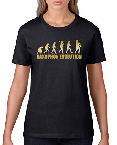 Comedy Shirts - Saxophon Evolution - Damen T-Shirt - Schwarz/Gold Gr. L