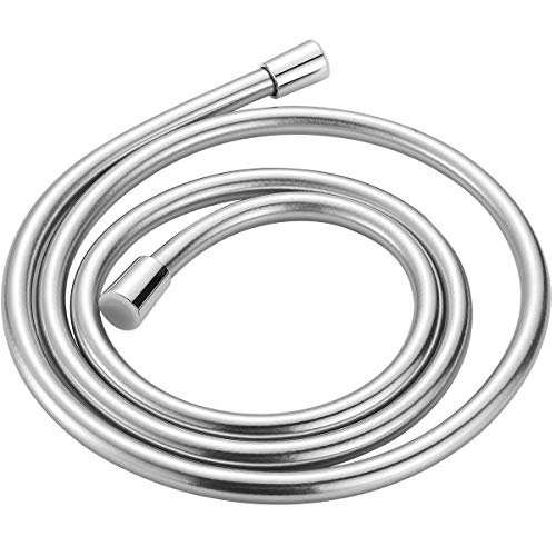 TECI Kink-free Shower Hoses 119 Inch Extra Long Handheld Showerhead Hose Explosion-proof Replacement 360 Degree Swivel Copper/Brass Connectors PVC Lightweight Flexible Anti-burst Silver T102-3