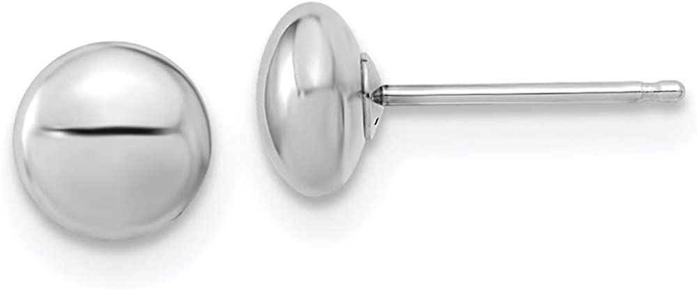 14k White Gold Polished Button Post Earrings 5.5mm style YE1817