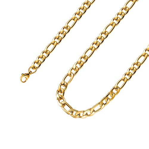 Estendly 18k Real Gold Plated 16 Inches Figaro Chain Necklace 4MM Stainless Steel Figaro Link Chain for Men Women
