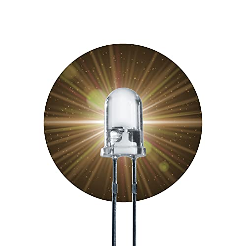 Lumetheus LED 5mm Farbe warm weiß 10000 mcd 20 Stück Leuchtdioden ca. 3V weiße Diode 2 Pin LEDs Gehäuse klar
