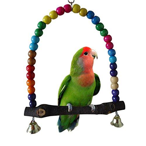 PoeHXtyy Holz Swing Papageienkäfig Toys Vogel Spielzeug Sittiche Nymphensittiche Unzertrennliche Rainbow Bridge