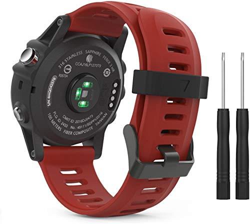 BarRan pulseira compatível com Garmin Fenix 3/Fenix 5X, Soft Silicone Replacement Pulseira de relógio para Garmin Fenix 6X/Fenix 6X Pro/Fenix 3/Fenix 3 HR/Fenix 5X/5X Plus/D2 Delta PX/Descent Mk1