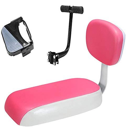 TB-Scooter Hinterer Kindersitz, Abnehmbarer Sicherheits-Kindersattelrücken, Mountainbike-Cruiser-Befestigungsset mit Griff und faltbaren Pedalen, pink