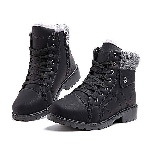 Botines Mujer Invierno Botas de Nieve Calentar Forro Forrado de Piel Cremallera Plataforma Antideslizante Cordones Calzado Aire Libre Deportes Caminar 6-Negro-Negro-1 EU38