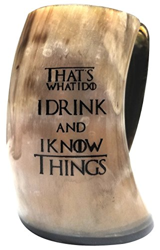 Horn Mug - Handcrafted & Polished - That's What I Do I Drink & I Know Things Viking Drinking Horn - Inspired by Game of Thrones