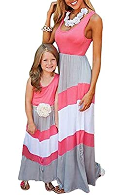 WIWIQS Summer Cute Mommy and Me Boho Striped Chevron Maxi Dresses
