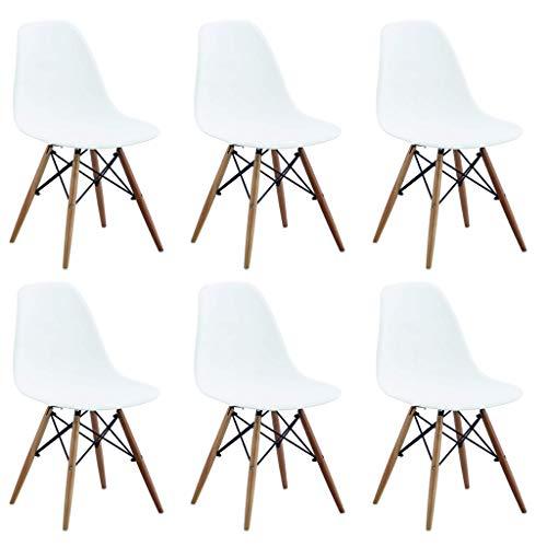 Milani Home s.r.l.s. Set di 6 Sedie di Design Moderne in ABS Bianco Struttura in Metallo Verniciato Nero Gambe in Legno Massello di Faggio