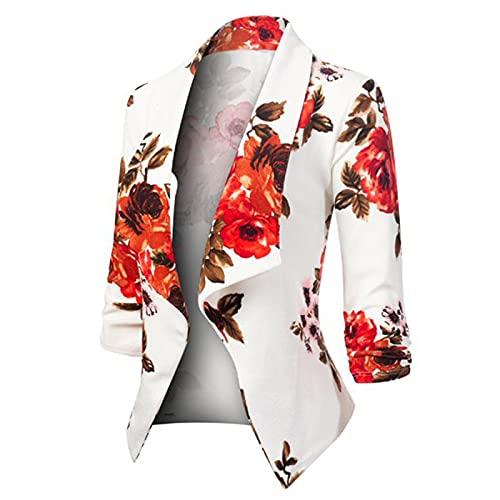 Blazer - Blazer para mujer, elegante, corto, entallado, deportivo, para negocios, verano, ligero, cárdigan, Color blanco, XXL