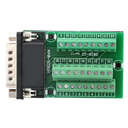 Placa de conexión, DB26 DB26-G2-01 Adaptador macho a conector de placa de conexión de módulo de señales de terminal PCB para cableado