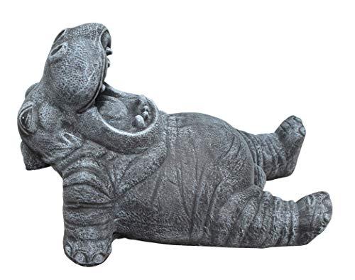 Steinfigur Nilpferd in Schiefergrau, Figur, Deko, Garten