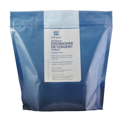 Grab Green Natural Automatic Dishwashing Detergent Powder, Fragrance Free, Organic Enzyme-Powdered, 80 Loads
