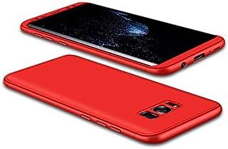JMGoodstore Funda Galaxy S8 Plus,Carcasa Samsung S8 Plus,Funda 360 Grados Integral para Ambas Caras+Cristal Templado,[ 360°] 3 in 1 Slim Fit Dactilares Protectora Skin Caso Carcasa Cover Rojo
